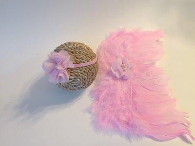 Engelvleugels roze + Haarband Newborn