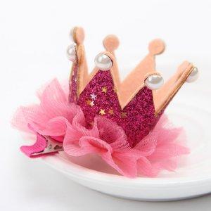 Kroon haarclip Glitter Hotpink