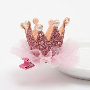 Kroon haarclip Glitter Goud roze