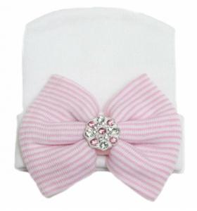Baby mutsje ziekenhuis 1e mutsje roze wit Strik glittersteen.,,,