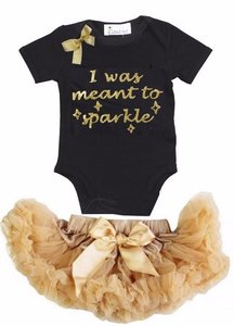 Petticoat + romper Baby Set I Was Meant To Sparkle
