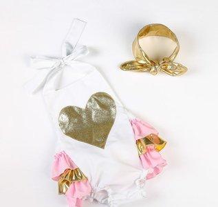 Bubble Romper luxe Koraal Glitter hart + Haarband