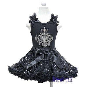 Petticoat Set Zwart Glitter + top Kroonluchter Sparkle 110-122