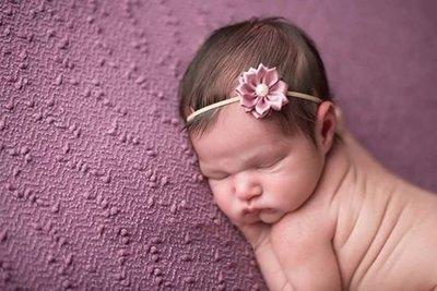 Newborn baby haarbandje Parel bloem Dusty Pink