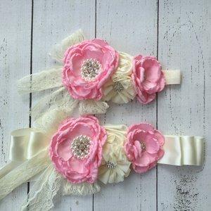 Handgemaakte Luxe Lace satijn Beading  Flower Ceintuur Roze  Creme  + bijpassende haarband