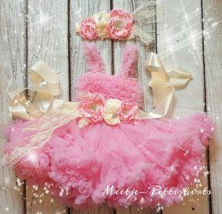Feestjurk Pettidress By Meetje baby Roze Diamond Flower Luxe 3DELIG.
