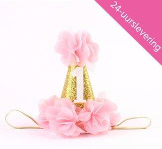 Verjaardag Mutsje 1 jaar Haarband  Roze