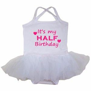 baby tutu jurkje Wit  It's My half Birthday