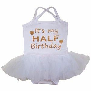 baby tutu jurkje Wit Goud  It's My half Birthday