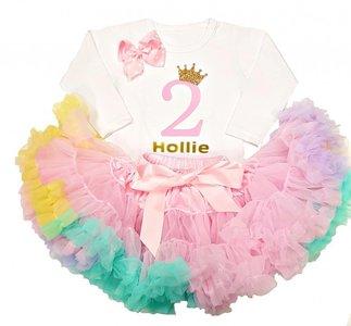 Verjaardag jurk set pink Rainbow 2 tm 10 jaar met Naam