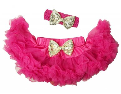 Baby Petticoat Hotpink goud & haarband