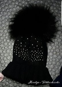 Winter Muts Zwart Glitter Bont Pom
