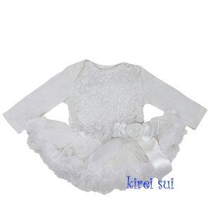 Baby Romantic White Rossettes Bodysuit longsleeve Pettidress