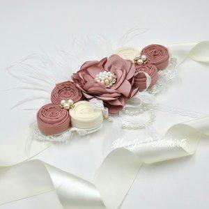 Zwangerschapsriem Couture Luxe ceintuur Parel Vintage rossette Dark dusty Pink Dark