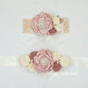 Couture extra luxe handgemaakte Luxe rosette Flower parel Dusty Pink light + bijpassende haarband
