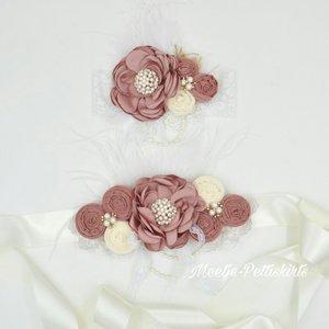Couture extra luxe handgemaakte Luxe rosette Flower parel Dusty Pink Dark + bijpassende haarband