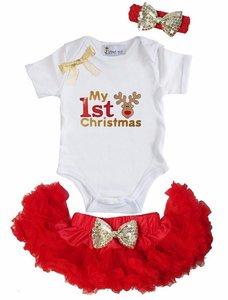 1e kerst Baby kerst petticoat + kerstromper 1e kerst Reindier