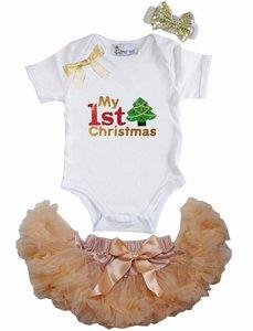 1e kerst Baby kerst petticoat + romper 1e kerst Kerstboom Goud