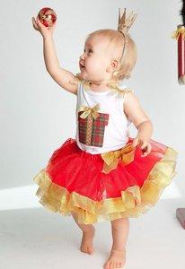 Kerst jurk tutu Rood Goud Top Kado box + Kroon