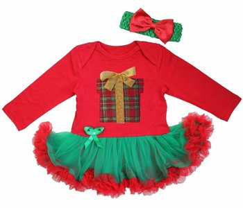 Baby kerstjurk Kado Box rood groen longsleeve
