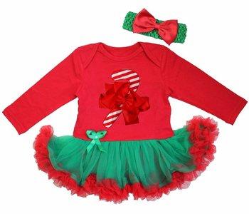 Baby kerstjurk snoep stok groen rood longsleeve