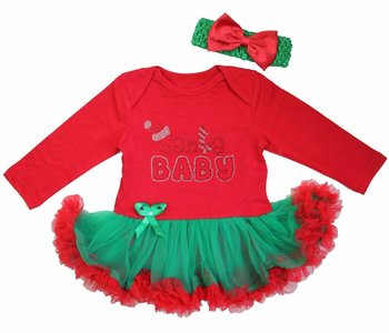 Baby kerstjurk Santa Baby  rood groen longsleeve