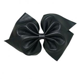 HaarStrik Clip Zwart Leder Look