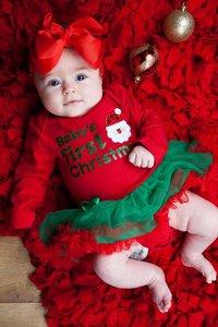 baby kerstjurk First Christmas longsleeve rood groen kerstman & Haarstrik
