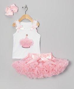 Verjaardagset Petticoat + cupcake top & haarstrik.