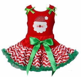 Kerst petticoat set 2 laags streep rood groen kerstman  Tanktop of longsleeve