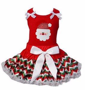 Kerst petticoat set 2 laags streep rood wit kerstman  Tanktop of longsleeve