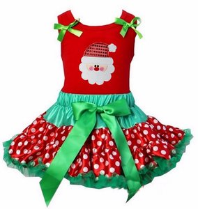 Kerst petticoat set 2 laags stippel rood groen kerstman  Tanktop of longsleeve