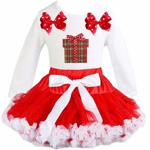 Kerst petticoat set rood Wit Kado longsleeve