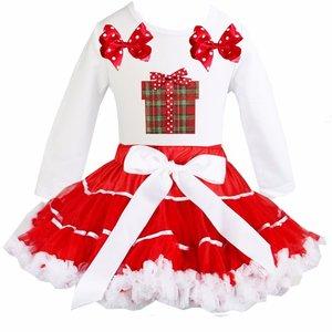 Kerst petticoat set rood wit satin binding Kado longsleeve