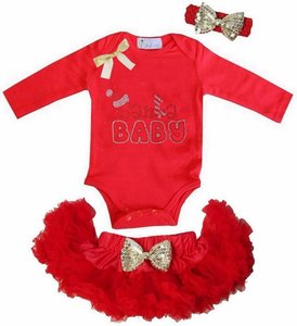 Baby kerst petticoat + romper Santa baby Rood