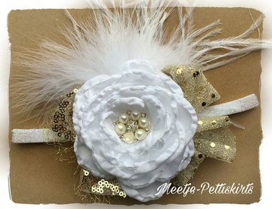 Vintage Couture Xmas Haarband White Sparkle Roos