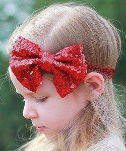 Glitter strik haarband Rood