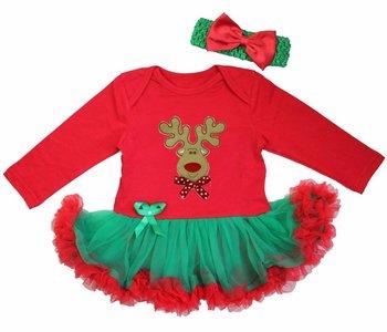 Baby kerstjurk Rendier groen rood longsleeve