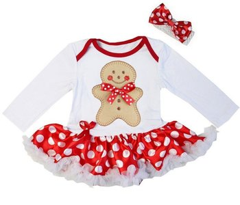 kerst baby jurk wit polkadot rood ginger bread