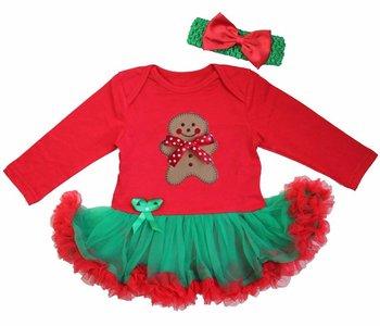 kerst baby jurk rood Groen ginger bread