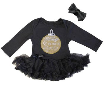 1e kerst baby jurk Zwart gouden kerstbal Bling it on kerstbal