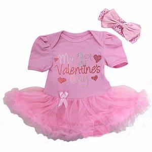 Valentijn Baby jurkje My 1st Valentine's Day roze