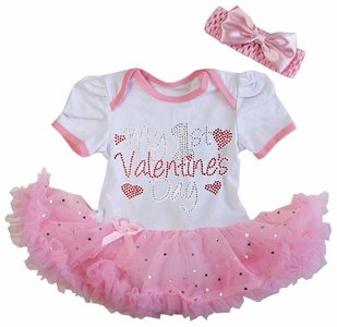 Valentijn Baby jurkje My 1st Valentine's Day wit roze glitter