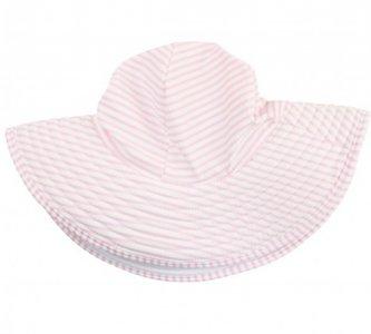 Zwemhoed / Zonnehoed Seersucker roze wit streep