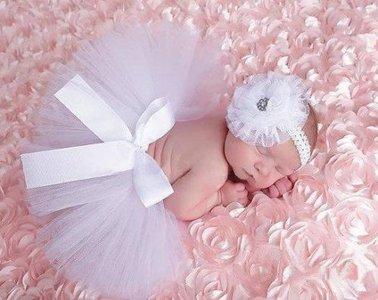2delige foto prop tutu Shiny Sparkle & haarband wit