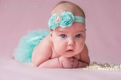 Baby Girl Luxury rose mint Haarband.