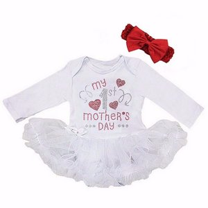 baby jurk romper My 1st Mother's Day Wit longsleeve