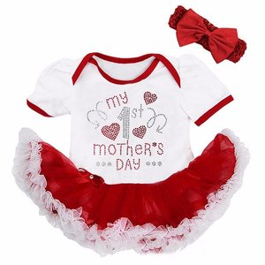 baby jurk romper My 1st Mother's Day rood Wit