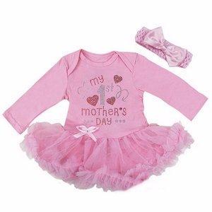 baby jurk romper My 1st Mother's Day roze longsleeve