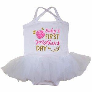 baby jurk romper tutu My 1st  baby Mother's Day wit longsleeve